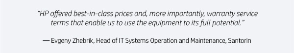 """HP offered best-in-class prices and, more importantly, warranty service terms that enable us to use the equipment to its full potential."" 